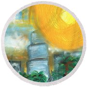 Hot Miami Sky Round Beach Towel
