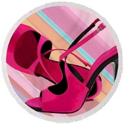 Hot Momma's Hot Pink Pumps Round Beach Towel