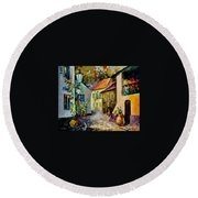 Hot Noon Original Oil Painting  Round Beach Towel