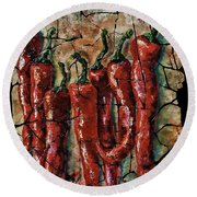 Hot Pepper Fresco Round Beach Towel