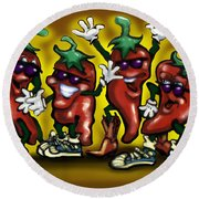 Hot Peppers Round Beach Towel