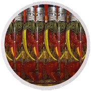 Hot Pickled Peppers Round Beach Towel