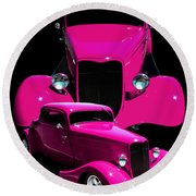 Hot Pink 33  Round Beach Towel