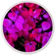 Hot Pink Florals Round Beach Towel