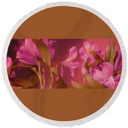Hot Pink Lilies Round Beach Towel