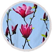Hot Pink Magnolias Round Beach Towel