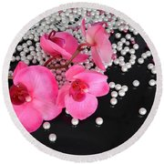 Hot Pink Orchids Round Beach Towel