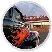 Hot Rod At The Diner At Sunset Round Beach Towel