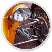 Hot Rod Headlight Round Beach Towel