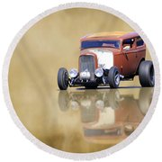 Hot Rod Reflection Round Beach Towel