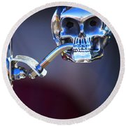 Hot Rod Skull Rear View Mirror Round Beach Towel