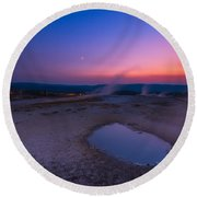 Hot Spring Sunset Round Beach Towel