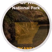 Hot Springs National Park In Arkansas Travel Poster Series Of National Parks Number 31 Round Beach Towel