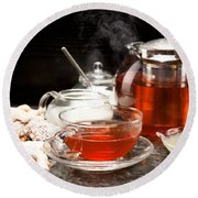Hot Steaming Tea With Christmas Biscuits Round Beach Towel