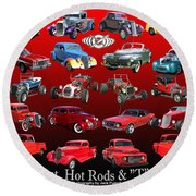 Car Show And Shine Poster Round Beach Towel