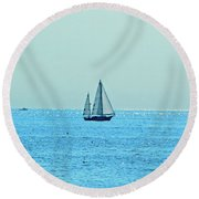Hot Summer Day In New England Round Beach Towel