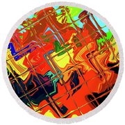 Hot Tile Reflection Round Beach Towel
