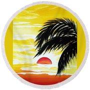 Hot Tropics Round Beach Towel