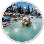 Hot Tubs And Ingound Heated Pool At A Mountain Village In Winter Round Beach Towel