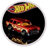 Hot Wheels '55 Chevy Nomad 2 Round Beach Towel by James Sage