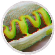 Hotdog - Use Red-cyan 3d Glasses Round Beach Towel