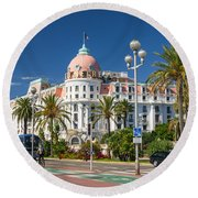 Hotel Negresco On English Promenade In Nice Round Beach Towel