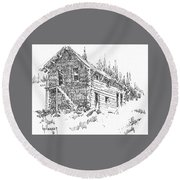 Hotel Red Lion Ghost Town Montana Round Beach Towel