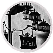 Hotel Sign - Reality And Shadow Round Beach Towel