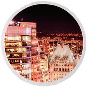 Hotel Vancouver And Sheraton Wall Center Round Beach Towel