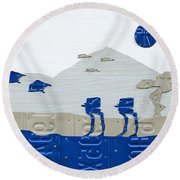 Hoth Star Wars Scene Panorama Made Using Vintage Recycled License Plates On White Wood Plank Round Beach Towel