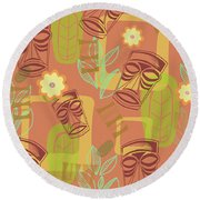 Hour At The Tiki Room Round Beach Towel