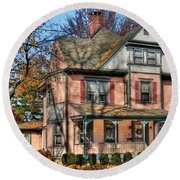 House - I Want That Big Pink House Round Beach Towel by Mike Savad