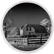 House And Cottonwoods Round Beach Towel