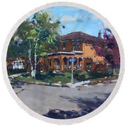 House At Goldmar Dr Mississauga On Round Beach Towel
