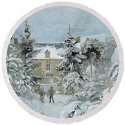 House At Montfoucault Round Beach Towel by Camille Pissarro