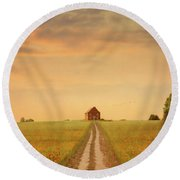 House At The End Of A Track In A Poppy Field Round Beach Towel