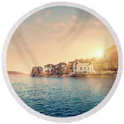 House By A Lake At Sunset Round Beach Towel