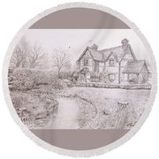 House By Lake Round Beach Towel