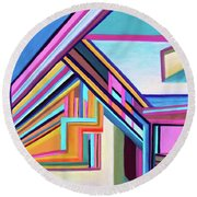 House By The Bay Round Beach Towel