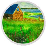 House By The Field Round Beach Towel