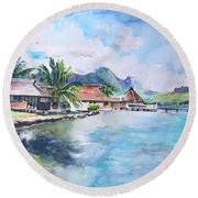 House By The Lagoon In French Polynesia Round Beach Towel