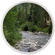 House By The Stream In Vail 1 Round Beach Towel
