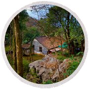 House In China Woods Round Beach Towel