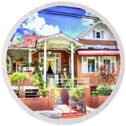 House In Curepe Round Beach Towel