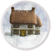 House In Snow Round Beach Towel