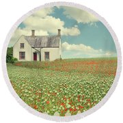 House In The Countryside Round Beach Towel