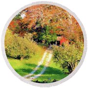 House In The Hills Round Beach Towel