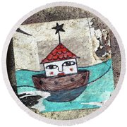 House In The Sea Round Beach Towel