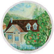 House In The Village Round Beach Towel