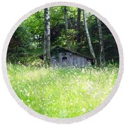 House In The Wood Round Beach Towel